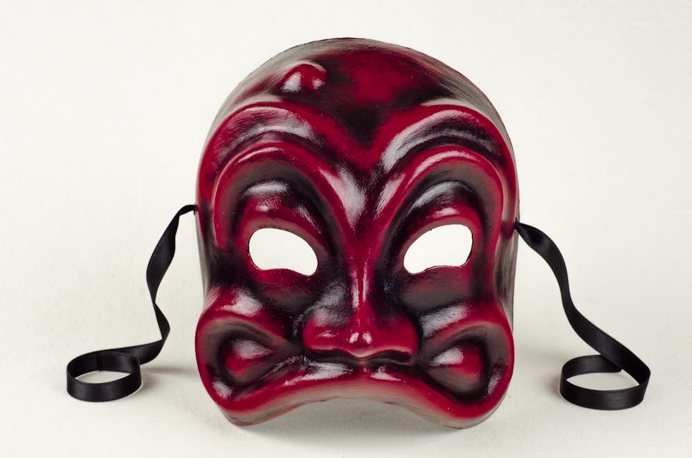 Vendita Maschera Di Arlecchino Finitura Rosso E Nero