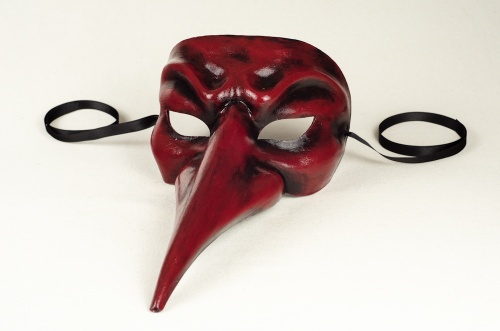 Red and black long nose mask
