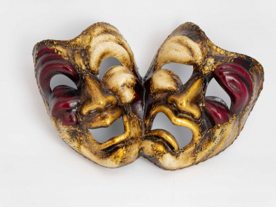 Tragedy and Comedy Mask Emanuele Red
