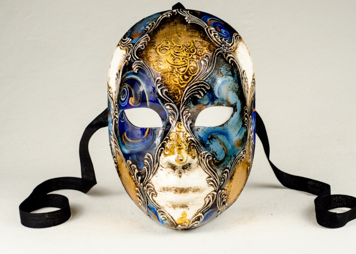 Venetian face mask decorated in blue gold and white