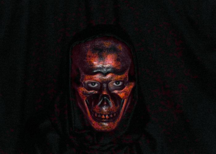 Laughing Skull Mask Orange
